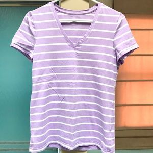 Lord & Taylor V-Neck Lavender/White Striped Tee